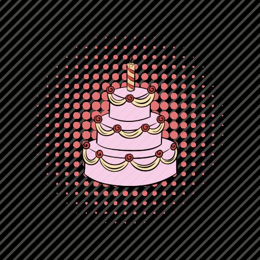 cake, cherry, comics, day, dessert, food, sweet icon