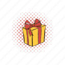 box, celebration, comics, day, gift, love, ribbon icon