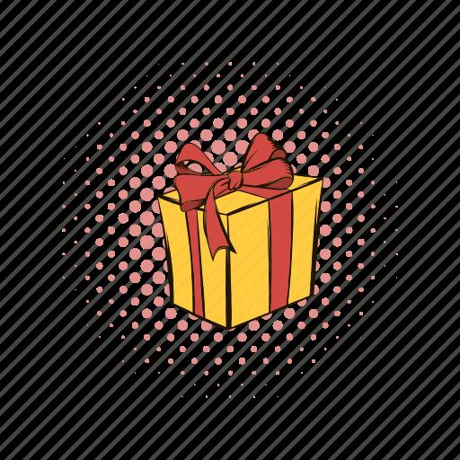 box, celebration, comics, day, gift, love, ribbon icon