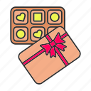 box, candy, chocolate, confection, pack, present, sweets icon