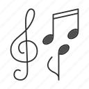 melody, music, notes, song, sound, treble clef icon
