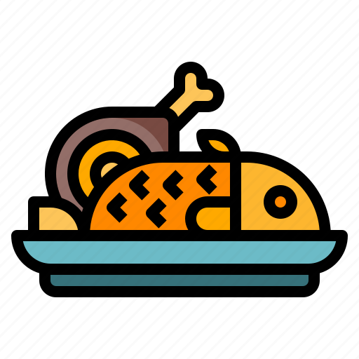 fish, food, meat, party, steak icon