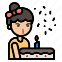 party, birthday, cake, girl, blow, candle