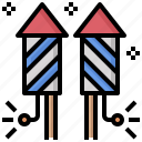 celebrationent, ertainment, firecracker, firework, fireworks, petard, rocket icon