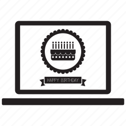birthday, cake, card, greeting, greetings, happy, laptop icon
