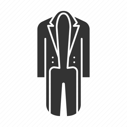 apparel, clothing, garment, men, suit, tailcoat, wear icon