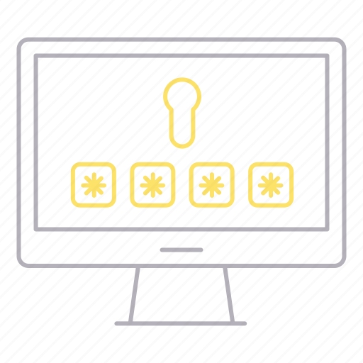desktop, monitor, password, protection, security icon