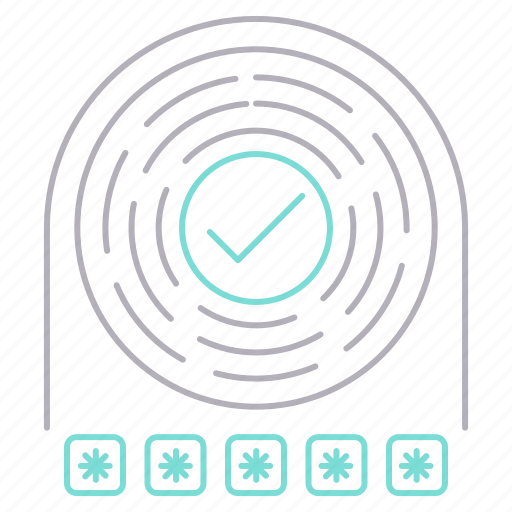 checkmark, finger, open, password, protection, security icon