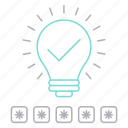 checked, idea, lamp, password, protection, security icon