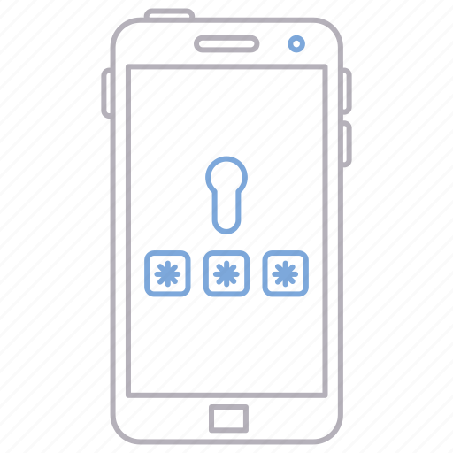 device, mobile, password, phone, protection, security icon