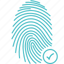 accepted, finger, fingerprint, recognition, security, strategy, touch icon