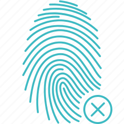 biometric, fingerprint, id, rejected, scan, security, touch icon
