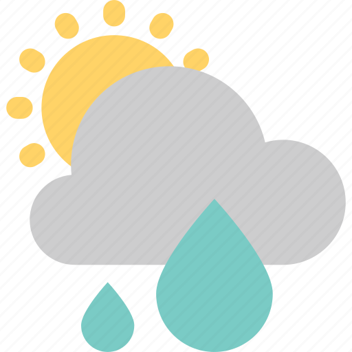 cloud, cloudy, forecast, rain, rainy, sun, weather icon