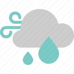 cloud, forecast, rain, water, weather, wind, windy icon