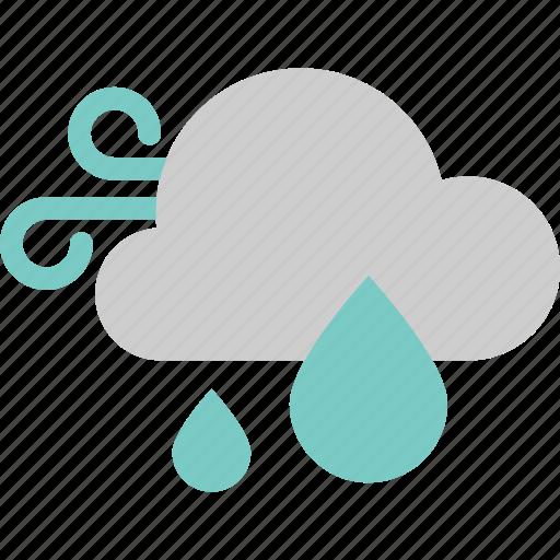 cloud, forecast, rain, water, weather, wind, windy icon