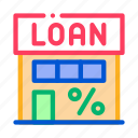building, loan, payday, percent icon