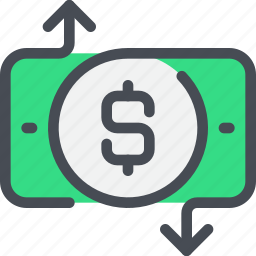 arrow, bank, business, exchange, money, payment icon
