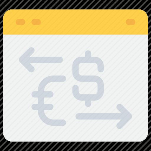arrow, banking, exchange, finance, money, payment icon