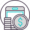 business, cash, currency, mobile, payment icon