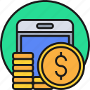 business, cash, currency, mobile, money, payment, smartphoe icon