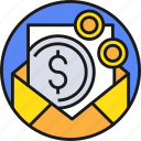 business, cash, currency, email, mail, money, payment icon