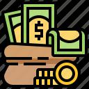 bag, bank, cash, coin, money