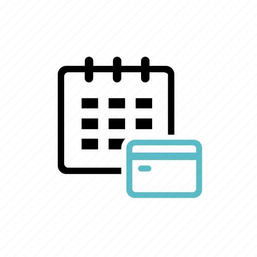 bill, calendar, creditcard, monthly, payment, regularpayment, subscription icon