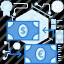 arrows, banking, cash, currency, dollar, euro, exchange