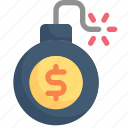 bomb, business, debt, economy, finance, mortgage, payment icon