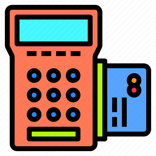 banking, card, cashier, credit, customer, machine, technology icon