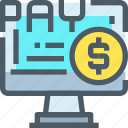 banking, computer, money, online, payment, shopping icon