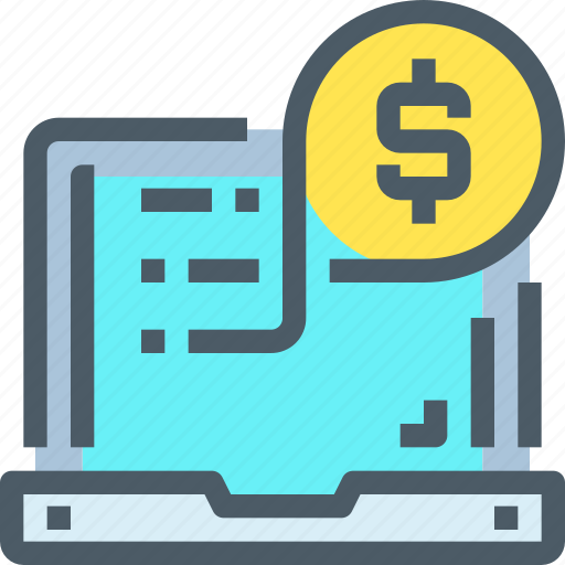 Shopping, money, banking, computer, online, payment icon