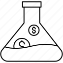 dollar, filter, flask, lab icon