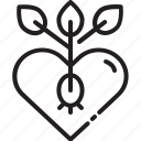 growing, heart, love, peace, rights, seed, tree icon