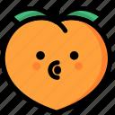 blowing, emoji, emotion, expression, face, feeling, peach icon