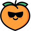 cool, emoji, emotion, expression, face, feeling, peach icon