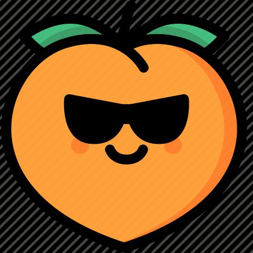 cool, emoji, emotion, expression, face, feeling, peach icon