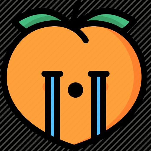 cry, emoji, emotion, expression, face, feeling, peach icon