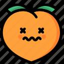 dead, emoji, emotion, expression, face, feeling, peach icon