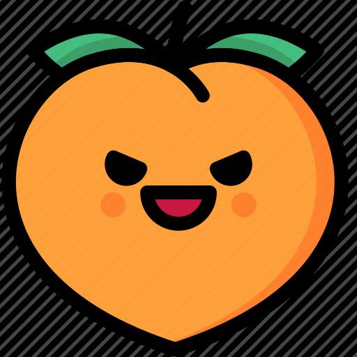 emoji, emotion, evil, expression, face, feeling, peach icon