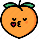 emoji, emotion, expression, face, feeling, kiss, peach icon
