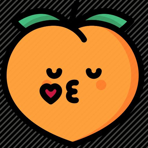 emoji, emotion, expression, face, feeling, kiss, peach icon