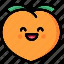emoji, emotion, expression, face, feeling, laughing, peach icon