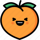 emoji, emotion, expression, face, feeling, laughing, peach icon