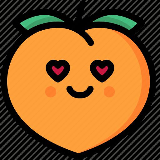emoji, emotion, expression, face, feeling, love, peach icon