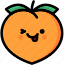 emoji, emotion, expression, face, feeling, naughty, peach icon