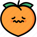 emoji, emotion, expression, face, feeling, nervous, peach icon