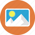 mountain, photos, snow, sun icon