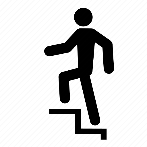 Climbing, man, people, person, stair, stairs, walking icon