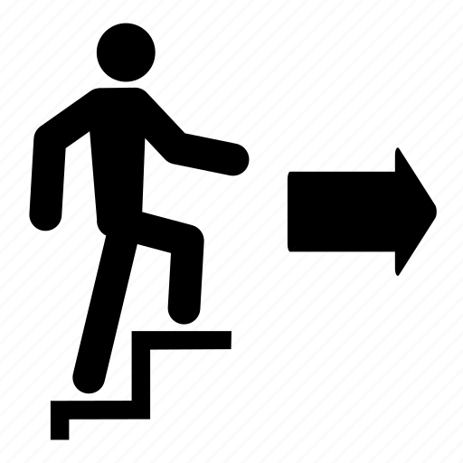arrow, climb, exit, person, run, stairs, walk icon